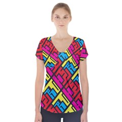 Hert Graffiti Pattern Short Sleeve Front Detail Top
