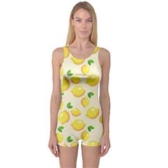 Lemons Pattern One Piece Boyleg Swimsuit