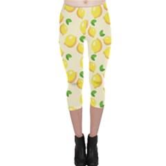 Lemons Pattern Capri Leggings