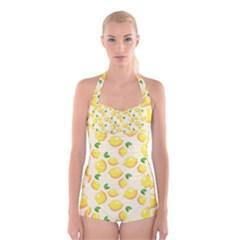 Lemons Pattern Boyleg Halter Swimsuit