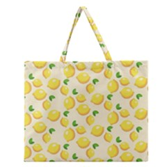 Lemons Pattern Zipper Large Tote Bag
