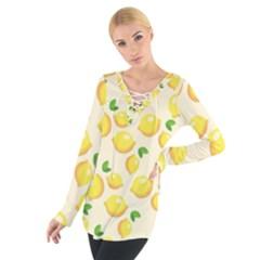 Lemons Pattern Women s Tie Up Tee