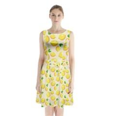 Lemons Pattern Sleeveless Waist Tie Chiffon Dress