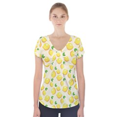 Lemons Pattern Short Sleeve Front Detail Top