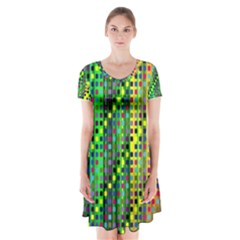 Patterns For Wallpaper Short Sleeve V-neck Flare Dress