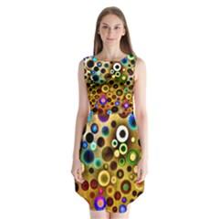Colorful Circle Pattern Sleeveless Chiffon Dress