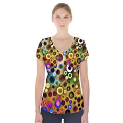 Colorful Circle Pattern Short Sleeve Front Detail Top