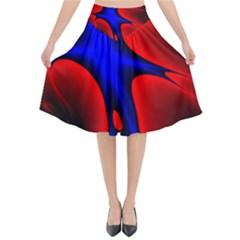 Space Red Blue Black Line Light Flared Midi Skirt