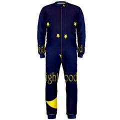 Star Moon Good Night Blue Sky Yellow Light Onepiece Jumpsuit (men)
