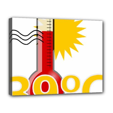 Thermometer Themperature Hot Sun Canvas 14  x 11