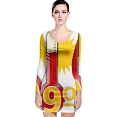 Thermometer Themperature Hot Sun Long Sleeve Bodycon Dress