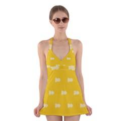 Waveform Disco Wahlin Retina White Yellow Halter Swimsuit Dress