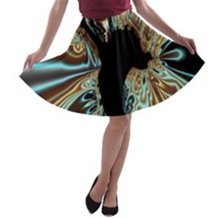 Silver Gold Hole Black Space A Line Skater Skirt