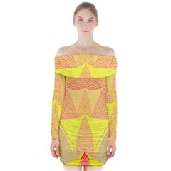 Wave Chevron Plaid Circle Polka Line Light Yellow Red Blue Triangle Long Sleeve Off Shoulder Dress