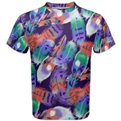 Bird Feathers Color Rainbow Animals Fly Men s Cotton Tee