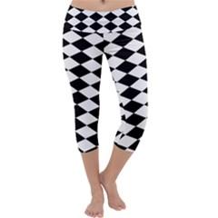 Diamond Black White Plaid Chevron Capri Yoga Leggings