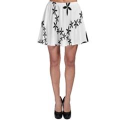 Flower Floral Black Line Wave Chevron Fleurs Skater Skirt