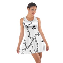 Flower Floral Black Line Wave Chevron Fleurs Cotton Racerback Dress