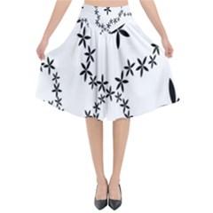 Flower Floral Black Line Wave Chevron Fleurs Flared Midi Skirt