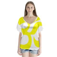 Hindu Om Symbol (maze Yellow) Flutter Sleeve Top