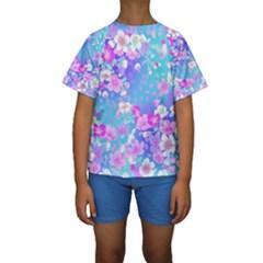 Flowers Cute Pattern Kids  Short Sleeve Swimwear