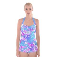 Flowers Cute Pattern Boyleg Halter Swimsuit