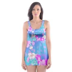 Flowers Cute Pattern Skater Dress Swimsuit