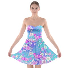 Flowers Cute Pattern Strapless Bra Top Dress
