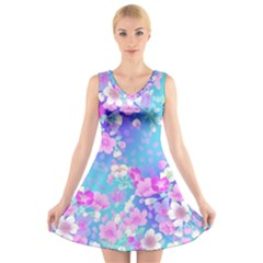 Flowers Cute Pattern V Neck Sleeveless Skater Dress