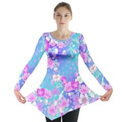 Flowers Cute Pattern Long Sleeve Tunic