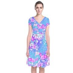 Flowers Cute Pattern Short Sleeve Front Wrap Dress