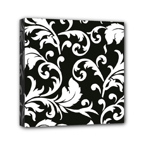 Black And White Floral Patterns Mini Canvas 6  X 6