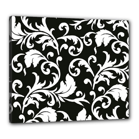 Black And White Floral Patterns Canvas 24  x 20