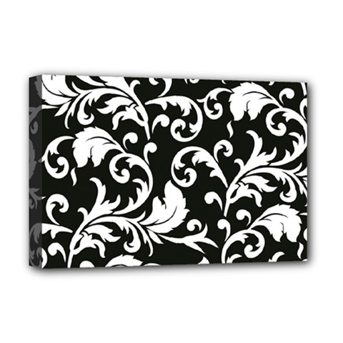 Black And White Floral Patterns Deluxe Canvas 18  X 12