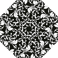 Black And White Floral Patterns Hook Handle Umbrellas (Medium)