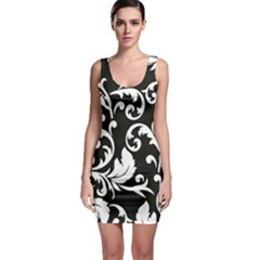 Black And White Floral Patterns Sleeveless Bodycon Dress