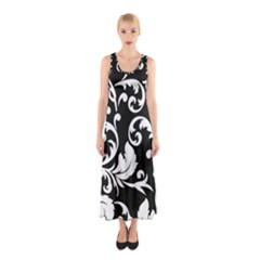 Black And White Floral Patterns Sleeveless Maxi Dress