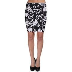 Black And White Floral Patterns Bodycon Skirt