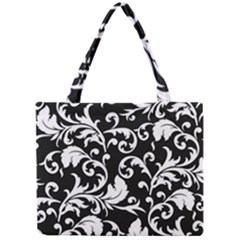 Black And White Floral Patterns Mini Tote Bag