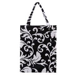 Black And White Floral Patterns Classic Tote Bag