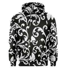 Black And White Floral Patterns Men s Pullover Hoodie