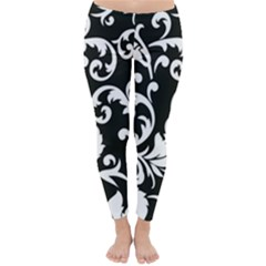 Black And White Floral Patterns Classic Winter Leggings
