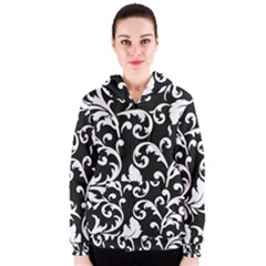 Black And White Floral Patterns Women s Zipper Hoodie