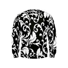 Black And White Floral Patterns Kids  Sweatshirt