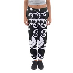 Black And White Floral Patterns Women s Jogger Sweatpants