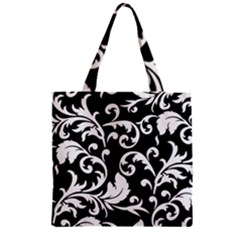 Black And White Floral Patterns Zipper Grocery Tote Bag