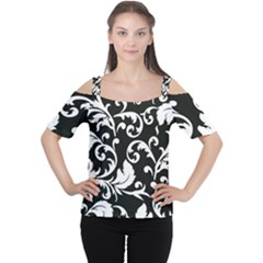 Black And White Floral Patterns Women s Cutout Shoulder Tee