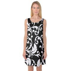 Black And White Floral Patterns Sleeveless Satin Nightdress