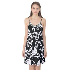Black And White Floral Patterns Camis Nightgown