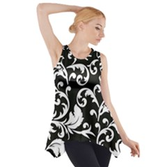 Black And White Floral Patterns Side Drop Tank Tunic